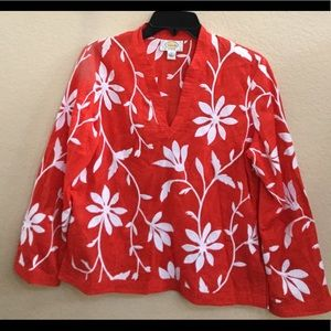Talbots Red Tunic Top White floral Embroidery